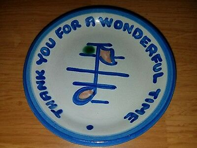 MA Hadley Pottery Thank You For A Wonderful Time Coaster Pin Dish Butter Pat USA
