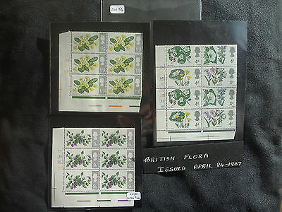 Great Britain 1967 Flowers (Cylinder Blocks Set) (ORD) (Notch Flaw 9d 20/2) MNH