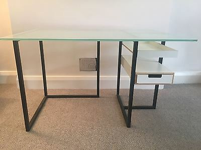 Glass office computer desk with wooden shelves