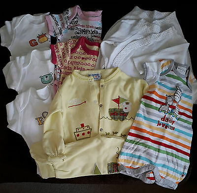 Bundle of baby unisex vests and outfit (0-3 months)