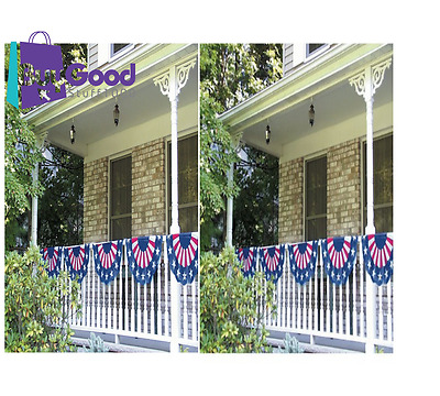 Stars And Stripes 4th Of July Party Bunting Banner Decoration 1 Piece 11FT NEW