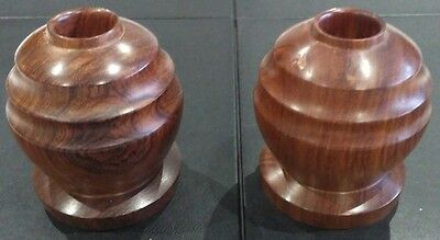 A Pair of Beautiful Vintage Heavy Solid Rosewood Candle Holders from Belize