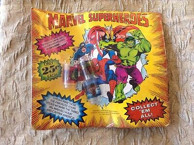1978 Marvel Superheroes Vending Card Mini Cups Decals Captain America Thor Hulk