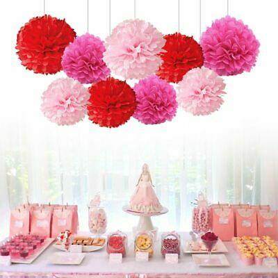 "9PCS Mixed 8"" 10"" Paper Pom Pom Flower Ball Garland Wedding Party Hanging Decor"
