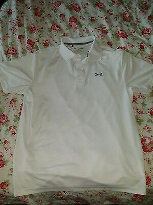 UNDER ARMOUR CATALYST Heatgear Wicking Polo Shirt  ..  White Large Loose fit