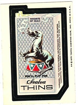 "1975 Wacky Packages Original 14th Series ""SEALVA THINS"" sticker card WB"
