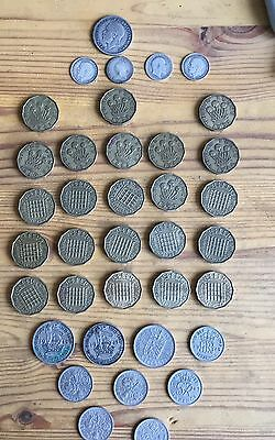 British Silver Coins 3p 1890 1904 1912 1918 Shilling 1936 X23 Brass 3p