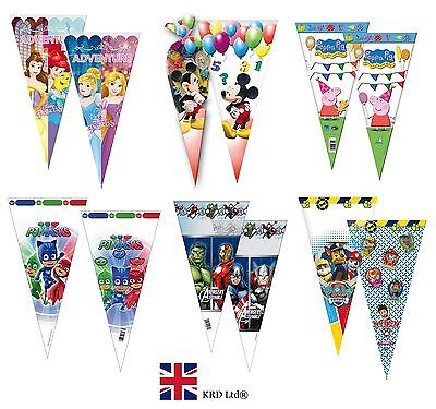 CONE CELLO PARTY FAVOR BAGS Kids Birthday Sweet Loot Filler Cellophane Toys Gift