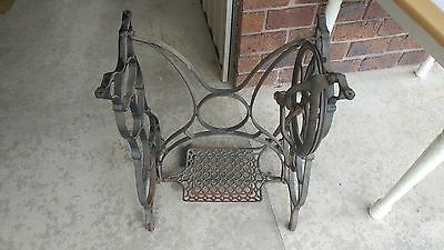 Vintage Standard Treadle Sewing Machine Cast Iron Base Short Table Steampunk
