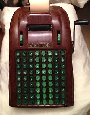 RARE Vintage Victor Bakelite Adding Machine W/ Cover & Paper Chicago USA Retro