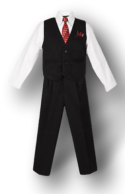 Boys Pinstripe Vest Suit with White Shirt and Tie Kids Formal 2T -20 NEW