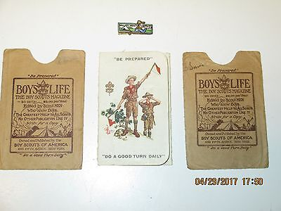 1928 Dated Boy Scouts Of America Identification Card, Pin, & Two Card Holders