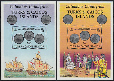 Turks & Caicos 1992 MNH 2 MS,Columbus,Discovery of America,Coins,Money on Stamps