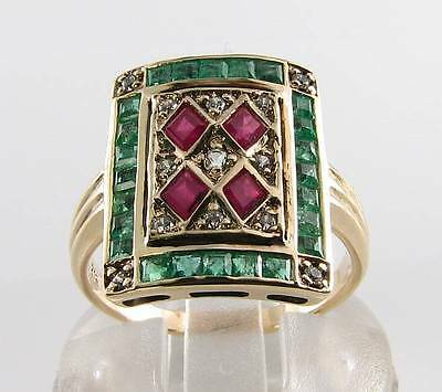 Large 9K 9Ct Gold Art Deco Indian Ruby Emerald & Diamond Ring Free Resize