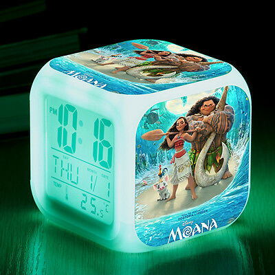 Fun Movie Moana Figures Color Changing Night Light Alarm Clock Kids Boy Girl Toy