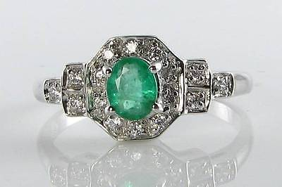 Class 9Ct 9K White Gold Colombian Emerald & Diamond Art Deco Ins Ring Free Size