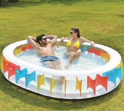 Large Oval Inflatable Kids Family Swimming Paddling Garden Pool Rainbow Design