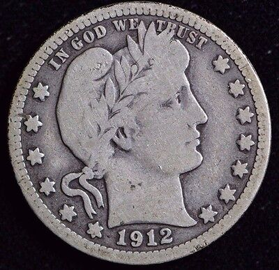 1912-S Barber Quarter Rare KEY Date G/VG Condition 90% Silver Free Shipping
