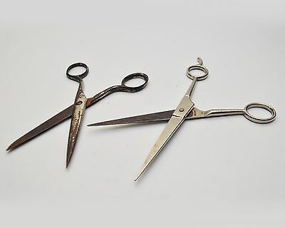 Lot of 2 Vintage Hair Barber Metal Scissors Italy and Germany