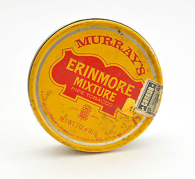 Vintage Collectible Tin Yellow and Red Murrays Erinmore Mixture Pipe Tobacco