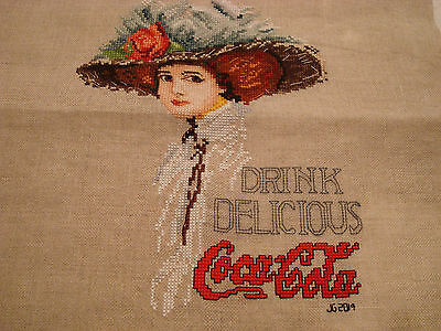 Handmade Cross Stitch Piece Old Fashion Coca Cola Girl W/hat 14X17  Beige Linen
