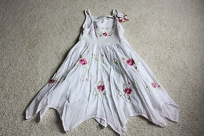 NEW Blueberi Boulevard white embroidered floral sun dress girls size 7 NWT