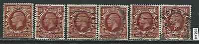 #6144 GREAT BRITAIN UK Sc#161 Used Lot of 6 King George V