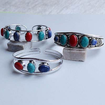 3 Pcs Lot 925 Sterling Silver Plated Beautiful Turquoise,coral Bangle / Cuff