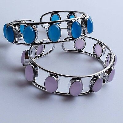 2 Pcs Lot Wholesale 925 Sterling Silver Plated Chalcedony Pink Rose Bangle/ Cuff