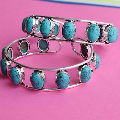 Wholesale 2 Pcs Lot !925 Sterling Silver Plated Beauty Turquoise Bangle / Cuff