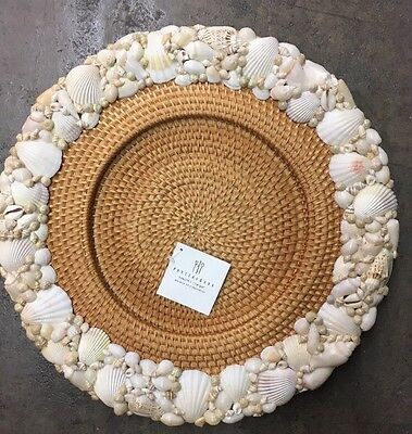 Pottery Barn Seashell Chargers Woven Rattan Summer Table Plates