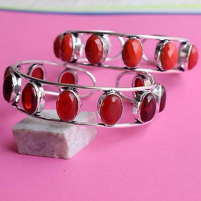 2 Pcs Wholesale Lot !!925 Sterling Silver Plated Red Garnet, Coral Bangle / Cuff