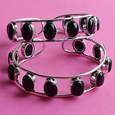Wholesale 2 Pcs Lot !!925 Sterling Silver Plated Lovely Black Onyx Bangle / Cuff