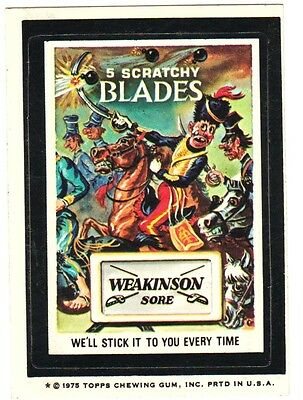 "1975 Wacky Packages Original 14th Series ""WEAKINSON BLADES"" sticker card WB"
