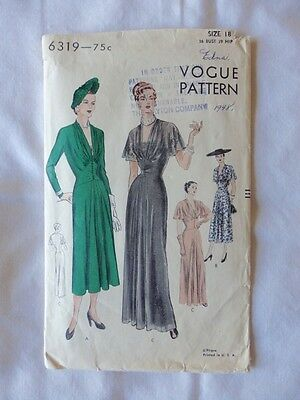 Vintage VOGUE 1930s Evening or One-Piece Dress Sewing Pattern Size 18 - Rare