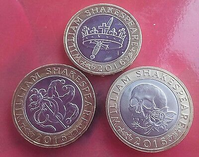 Set of 3 William Shakespeare £2 two pound coin