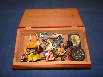 Junk Drawer Lot - Various Trinkets in a Cedar Jewelry Box LOOK! SA2382
