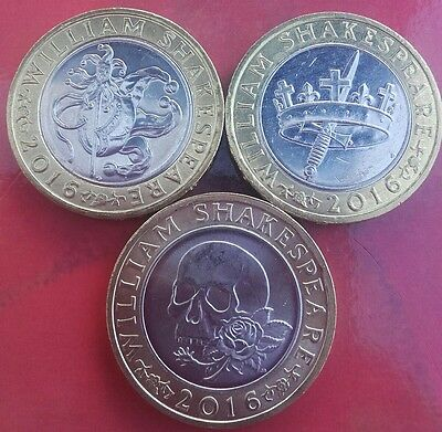 Set of 3 William Shakespeare £2 two pound coins