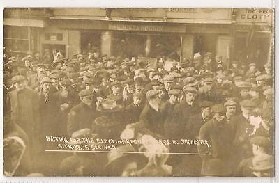 RP Postcard, (S. Cribb S'sea No.2) Waiting for Election Results, 1910 Chichester
