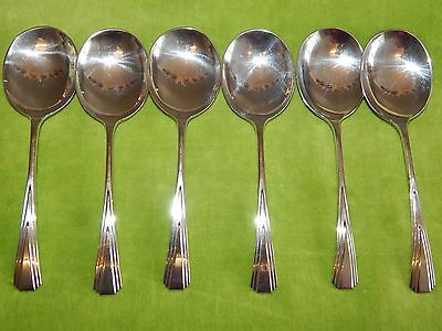Vintage Antique Nice Art Deco Silver Plated EPNS Cutlery 6 Small Soup Spoons