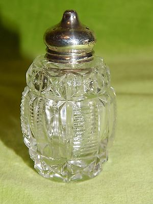Cute Cut Glass, Silver Topped Salt Pepper Shaker Birmingham 1910 R Owen Williams