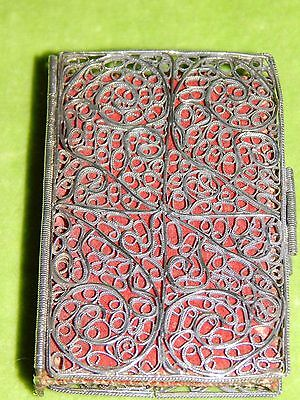 Gorgeous Antique Filigree Work Silver Sewing Needle Case Book w Felt Pages 24g