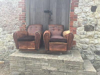 Pair of vintage French leather club chairs