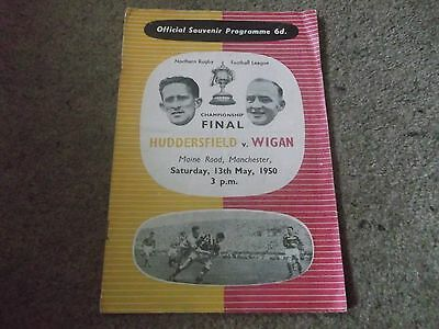 Rare Vintage Rugby League Championship Final Huddersfield V Wigan 13Th May 1950