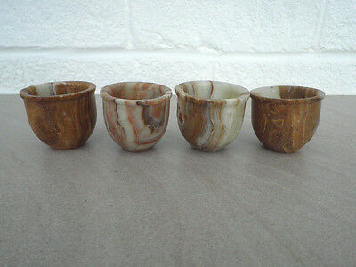 Unusual Onyx/marble/agate Egg Cups X 4