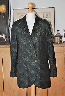 Ladies Vintage Caspita Green Tapestry Jacket Blazer Uk14 Eu40 Us12