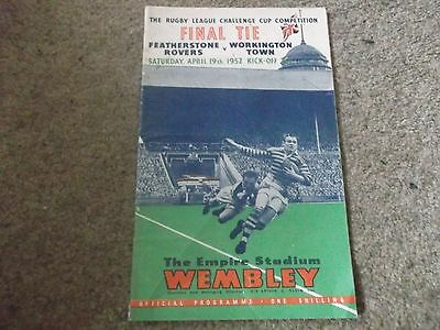 Rare 1952 Rugby League Challenge Cup Final Featherstone Rovers V Workington Town