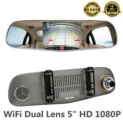 "WiFi 5"" Dual Lens Camera Car DVR HD1080P Video Recorder Rearview Mirror Dash RG"