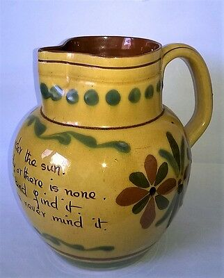 Large Antique Vintage ALLER VALE Motto Ware Jug Kerswell Daisy 'For Every Evil'