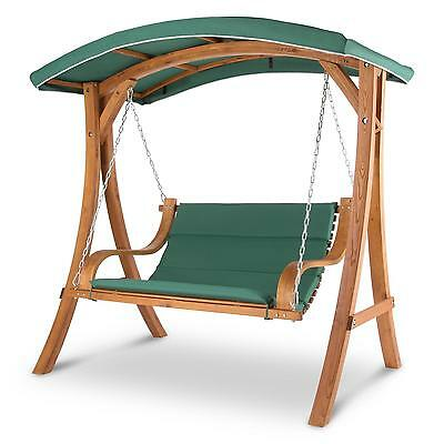 Sun Lounger Rocking Bench Chair Swing Wood Frame Steel Canopy Shade Garden Home